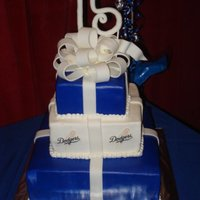 Amber's Quince This was for my nieces 15th birthday. She requested a Dodger themed cake for her party. This a vanilla cake with chocolate whipped cream...