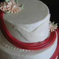 "Confirmation Cake Made this for my daughters confirmation.Six and 8"" buttercream covered and flowers. MMF swag and dove. I used inspiration from cakes..."