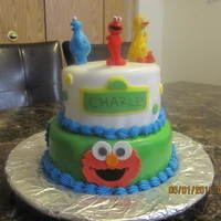 Sesame Street Did this for my son's first birthday-white w/cookies 'n cream filling and yellow/choco buttercream. Fondant Elmo and Cookie...