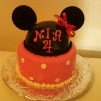 Minnie Mouse Made for my daughter's birthday-pound cake with fresh strawberry filling and white cake for minnie hat -fondant and buttercream