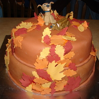 Leaves And Dogs MMF is a little darker in the picture. Top tier is white cake covered in BC. Bottom tier is chocolate cake covered in BC also. The dogs and...