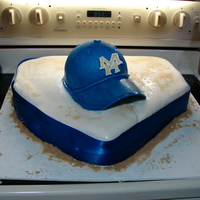 Mh Baseball Hat On Home Plate This was my first baseball theme cake. I made this for my husband and son. They had a end of the year baseball team party and he wanted me...