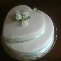 Mint Green Wedding Buttermilk cake covered w/ mmf. Flowers are silk.