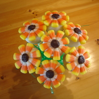Spring Flowers Cake Pops Chocolate/peanut butter cake pops dippen in white candy melts. Candy corn for petals & chocolate icing center