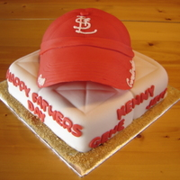 "Cardinals Fathers Day Cake single layer 8"" square for the ""base"" and used Wiltons sports ball for the hat."