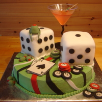 21St Birthday Cake Complete With Jello Shot Martini gum paste cards, poker chips, olive man, martini olives & strip pattern. 4' square dice covered in fondant. Jello shot martini