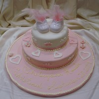 Christening Cake   This cake is layered with Raspberry Moistened Vanilla Cake , Vanilla Buttercream and sealed with Rolled Fondant for that Elegant Touch