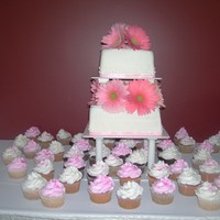 Gerberas And Cuppies  This is a square two tier MMF covered wedding cake with pink ribbon around the tiers and Gerberas between and on top. There are also 50...