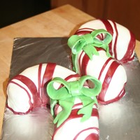 Candy Cane Cakes   I made this cake using a wilton heart shaped pan.