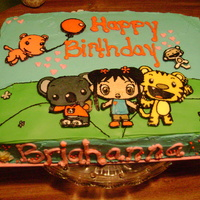 Ni Hao Kai Lan Used the buttercream transfer method, it came out really well for my first time and it was very easy to do. The cake batter is tye-dye...