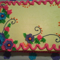 Sheet Cake Flowers Buttercream covered sheet cake with fondant cut out flowers inspired by cakes on CC thank you all