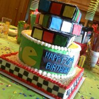 Rubix Cube, Pac Man, And Checkerboard I made this for an '80s-themed birthday party. It was a lot of fun, and I was thankful that video game graphics from the 1980s were so...