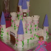 "Princess Castle Cake Fondant walls and towers using ice-cream cones. Double layer 10"" cake and 6"" cakes."
