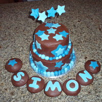 Baby Boy Shower White chocolate cake with chocolate ganache filling and chocolate buttercream icing. MMF accents. The cake matched their nursery.
