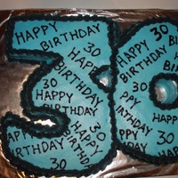 30Th Birthday Marble cake with buttercream icing and tinted gel for writing.
