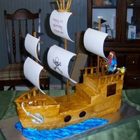 Pirate Ship Chocolate cake with chocolate ganache filling and chocolate french buttercream. Everything is edible except the three masts! Almost 3ft...