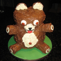 Teddy Bear Cake Cake is a plain butter cake. Chocolate and plain buttercream icing covering.