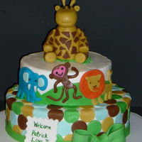 Jungle Shower Cake designed to match the baby shower theme.