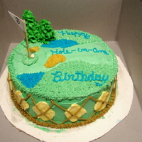 Golf Birthday This was pre-fondant cake :) all with buttercream. Tree is sugar cone :)