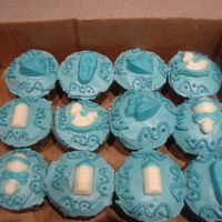 Baby Shower Cupcakes This is chocolate cupcakes with buttercream. And chocolate candies handmade on top