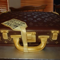 Louis Vuitton Briefcase This cake was for a law student! All fondant, hand painted pattern.