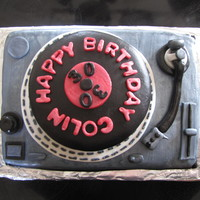Dj Turntable Chocolate cake with brandy ganache filling.Super fun cake to make! The record actually spins!