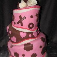 Topsy Turvy Valentines Day Cake YUMMY! Valentines Day Topsy Turvy cake. Vanilla cake with chocolate ganache, strawberry cream cheese & chocolate cream cheese ganache...