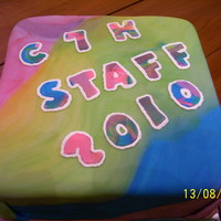 "Tie-Dye Cake For Girl Scout Camp Staff   Two Layer 12"" Square cakes covered in fondant for the staff dinner at girl scout resident camp."