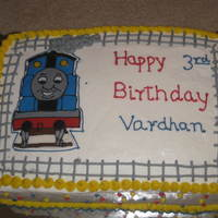 Thomas The Engine Cake fondant plaque on buttercream.design taken from anothe cake on CC.dont remember the member name.