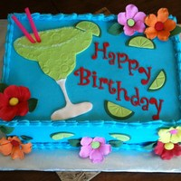 Margartia Theme Birthday Cake Chocolate cake with chocolate filling, Buttercream with fondant accents