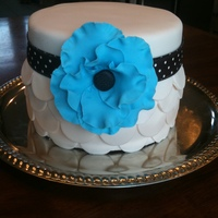 Big Blue Flower Red Velvet with cream cheese filling and fondant accents.Thanks to all of you for the wonderful ideas