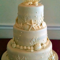 Shell Wedding Cake Covered with MMFAll shells and coral are made of white chocolate