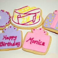 Birthday Cake And Present Cookies fondant with BC piping.....I didn't have any royal made and these were kind of last minute!