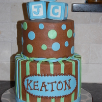 Baby Boy Shower Cake vanilla cake with choc chip choc mousse filling with milk choc. buttercream. MMF decorations. TFL!