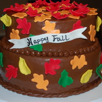Fall Cake chocolate fondant with fall leaves. This was my first stacked cake