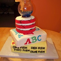 Dr Seuss Baby Shower Cake thanks to all CS users for the inspiration for this cake!! Fish is hand sculpted from fondant= thanks for looking!