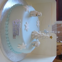Polar Bear Christmas Cake Baked for my sons nursery as a raffle prize