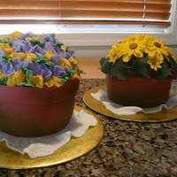 Flower Pot Cakes Pots are fondant covered cakes, Pansy is buttercream (urrgggggg I hate piping) and the yellow daisy cake is all fondant. A little green...
