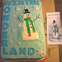 Winter Wonderland Cake For Work 2 layers of cake, chocolate and yellow. Buttercream with fondant snowflakes and letters. Tried to make the snowman like the invitation to...