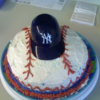 Yankee Baseball Cake This was my first cake and i didn't know how to get rid of the dome so I left it and made it into a baseball.