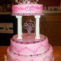 3 Tier Princess Cake This is a birthday cake that I made for my neighbors lil girl. It was her 1st birthday and we all think she is a princess so this is what I...