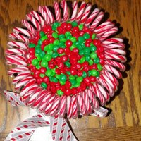 "Candy Cane Cake There's no lack of sugar here!!! Under the candy canes and M&M's is a 10"" 2 layer cake."