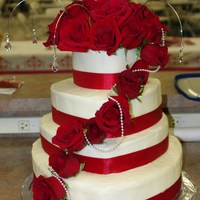 40Th Anniversary Cake Double layer each tier, each tier is a different flavor. The roses are fresh roses.