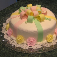 Bow Cake Buttercream cake with fondant bow.