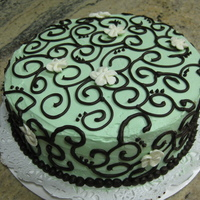 Mint Green Chocolate Scroll Birthday Cake This is a Mint Chocolate cake filled with an oreo truffle filling. It has an italian buttercream icing and chocolate ganache scrollwork. It...