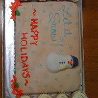 Snowman Cake My building has events for holidays and this was a cake I made for this. I like how this cake turned out except for the piped writing. The...