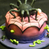Spider Cake First time I did a fondant cake. Not perfect but turned out not too bad.