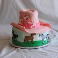 Cowgirl   Cow girl cake for a 4 year old. Chocolate and yellow cake w/ fondant decorations. Horses are hand painted.