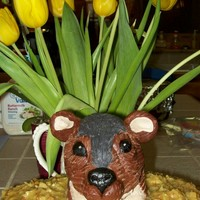 Ground Hog's Day He is made out of rice crispy treats covered in modeling chocolate
