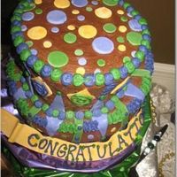 Mardi Gras Themed Wedding Shower Cake Two tiered topsy turvy chocolate cake covered in chocolate buttercream icing and fondant decorations. This was my very first attempt at a...